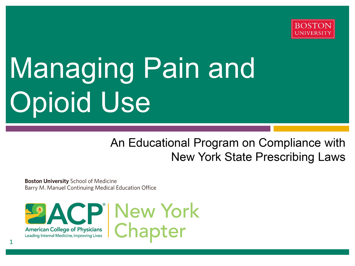 Managing Pain and Opioid Use: An Educational Program on Compliance with NYS Prescribing Laws