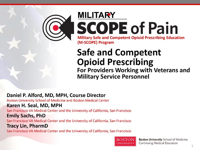 Safe and Competent Opioid Prescribing for Providers Working with Veterans and Military Service Personnel