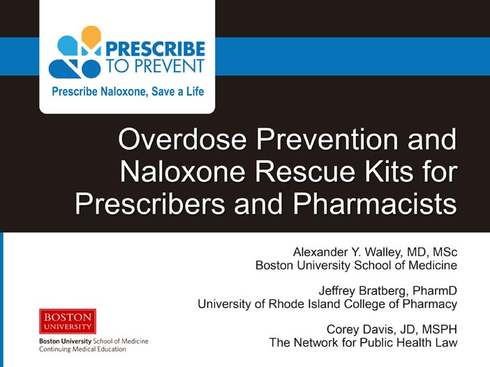 Overdose Prevention and Naloxone Rescue Kits for Prescribers and Pharmacists